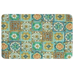 Multi Malibu Tile Memory Foam Kitchen Mat