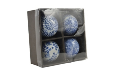 Blue and White Porcelain Orbs, Set of 4