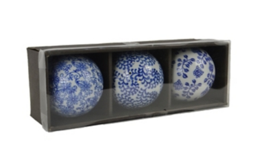 White and Blue Porcelain Orbs, Set of 3