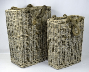 Natural Willow Baskets, Set of 2
