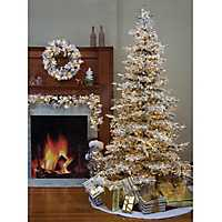 7.5 ft. Pre-Lit Flocked Pine Christmas Tree