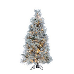 pre lit flocked white pine christmas tree - Rustic Artificial Christmas Tree