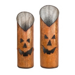 Metal Jack O' Lantern Candle Holder, Set of 2