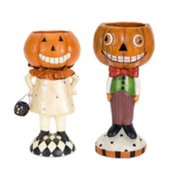 Boy and Girl Standing Pumpkin Candy Dish, Set of 2