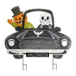 Jack O' Lantern and Skeleton in Car Stake