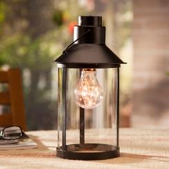 Pre-Lit Classic Black Metal Edison Bulb Lantern