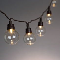 Brown Solar Powered Round Bulb String Lights