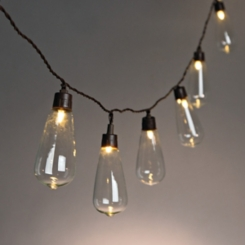 Brown Solar Powered Tubular Bulb String Lights