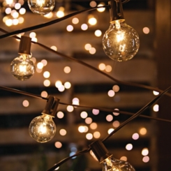 Brown Electric Round Bulb String Lights