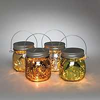 Lighted Mercury Glass Mason Jar, Set of 4