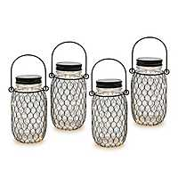 Lighted Black Netting Mason Jar Set, 6.9 in.