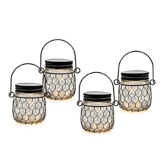Lighted Black Netting Mason Jar Set, 3.75 in.