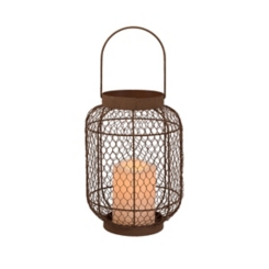 Pre-Lit Rustic Chicken Wire Candle Lantern