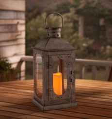 Pre-Lit Rustic Arched Pane Candle Lantern
