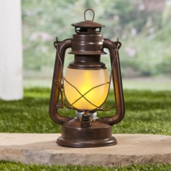 Pre-Lit Brown Fireglow Frosted Glass Lantern