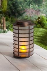 Pre-Lit Copper Fireglow Caged Lantern