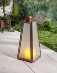 Pre-Lit Brushed Copper Triangular Lantern