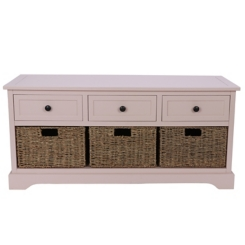 Rose Storage Bench with 3-Drawers and 3-Baskets