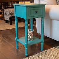 Olive Accent Table with 1-Drawer