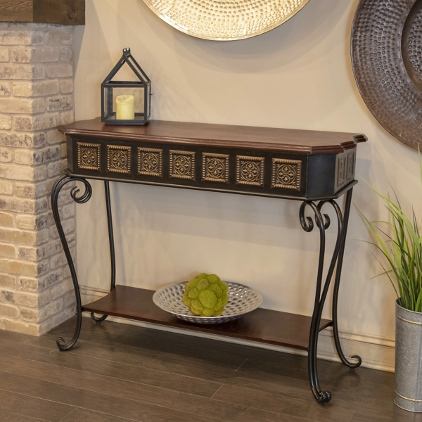 Gold Medallion Wood And Metal Console Table