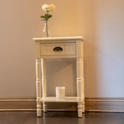 Antique White 1-Drawer Beadboard Accent Table