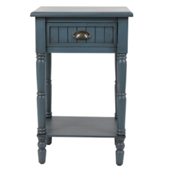 Antique Navy 1-Drawer Beadboard Accent Table