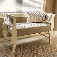 Anna Linen Sleigh Bench with Nailheads