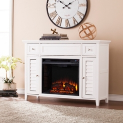White Electric Fireplace Media Console