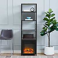 Gray Wash Electric Fireplace Bookshelf Tower