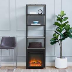 Gray Wash Electric Fireplace Bookshelf Tower