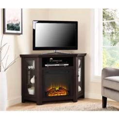 Espresso Electric Fireplace Corner Media Console