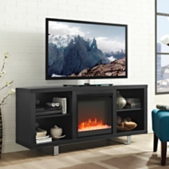Black TV Media Console with Electric Fireplace