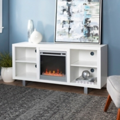 White TV Media Console with Electric Fireplace