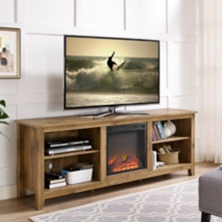 Barnwood TV Media Console with Electric Fireplace