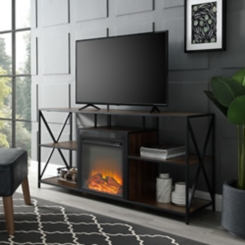 Dark Walnut Electric Fireplace Media Console