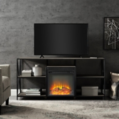 Gray Wash Electric Fireplace Media Console