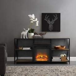 Rustic Oak Electric Fireplace Media Console