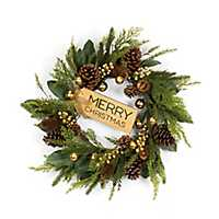 Pine and Magnolia Leaf Wreath with Christmas Sign