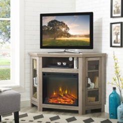 Gray Wash Electric Fireplace Corner Media Console
