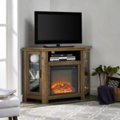 Rustic Oak Electric Fireplace Corner Media Console