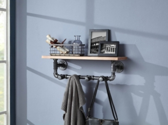 Allentown Wall Shelf with Metal Pipe Hooks
