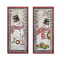 Snowman Joy and Presents Plaques, Set of 2