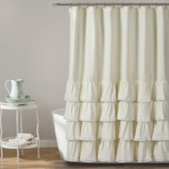 Ivory Border Ruffle and Lace Shower Curtain