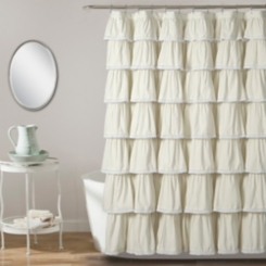 Ivory Full Ruffle and Lace Shower Curtain