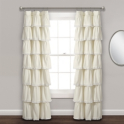 Ivory Full Ruffle and Lace Curtain Panel, 84 in.