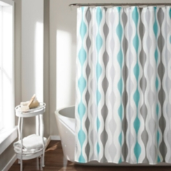 Blue Mid-Century Modern Geometric Shower Curtain