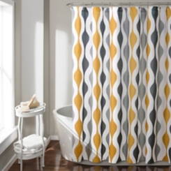 Gold Mid-Century Modern Geometric Shower Curtain