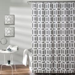 Gray Sequoia Geometric Shower Curtain
