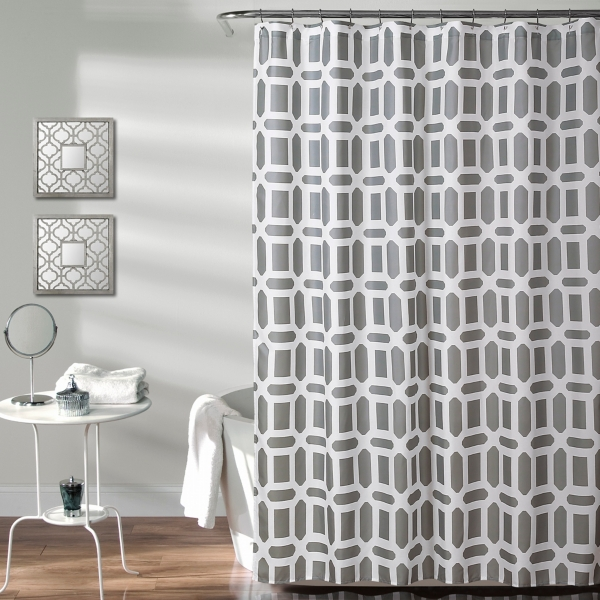 Gray Sequoia Geometric Shower Curtain