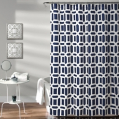 Navy Sequoia Geometric Shower Curtain